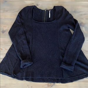 Free people black square neck zipper back sweater